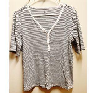 GAP Black/White Cotton 3/4 sleeve shirt
